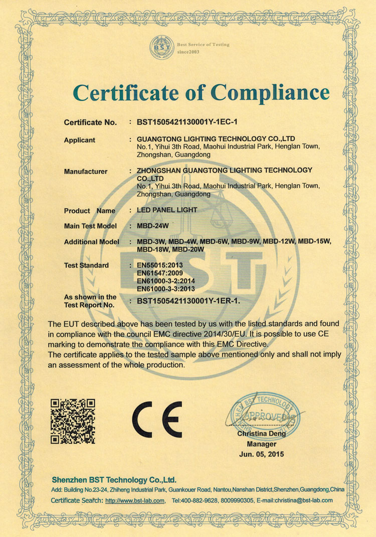Thin Panel light CE certification
