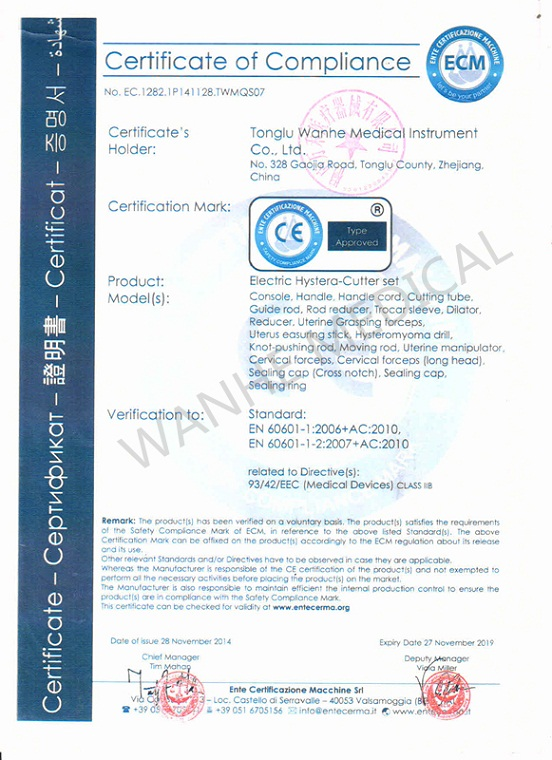 CE Certificate- Electric Hystera- Cutter set