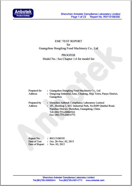 EMC test for proofer