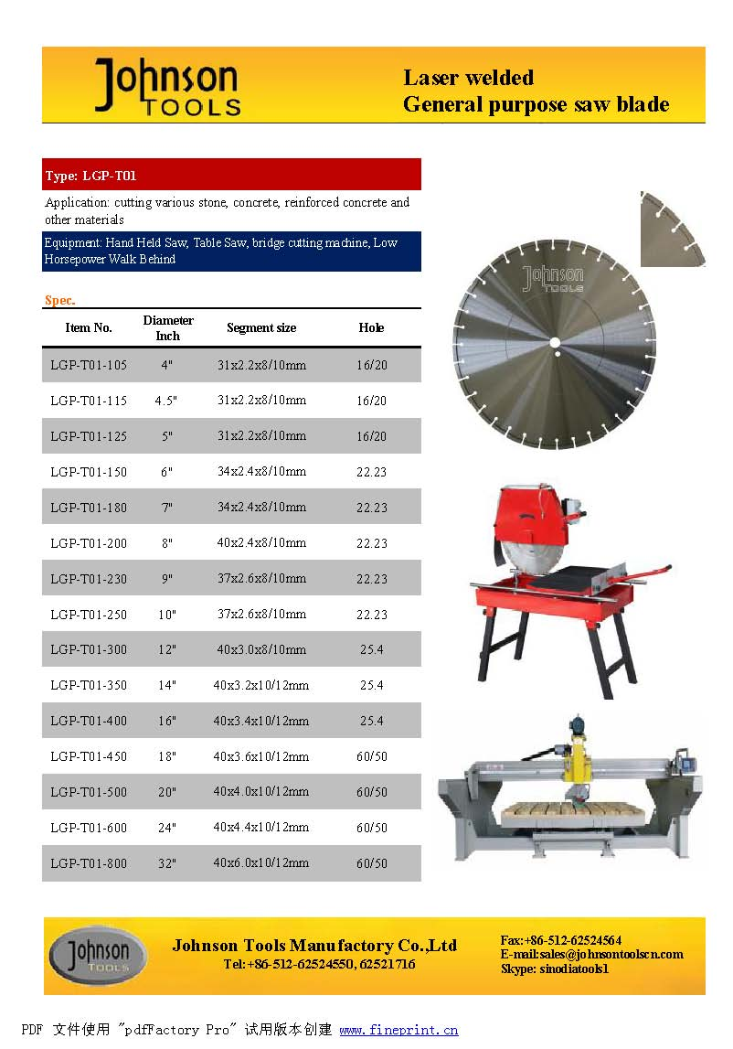 Laser welded GP saw blade