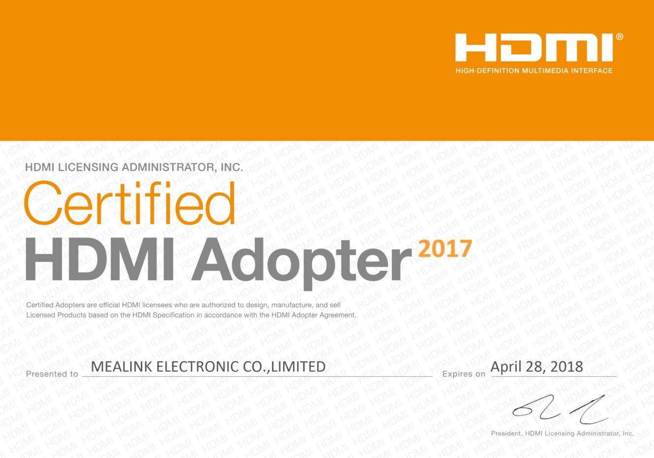 Certificate HDMI Adopter