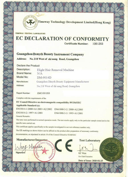 skin care CE certificate