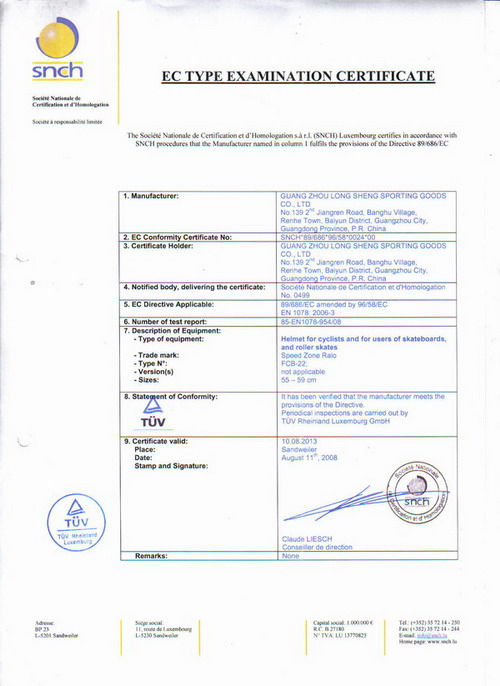 CE Certificate for helmet
