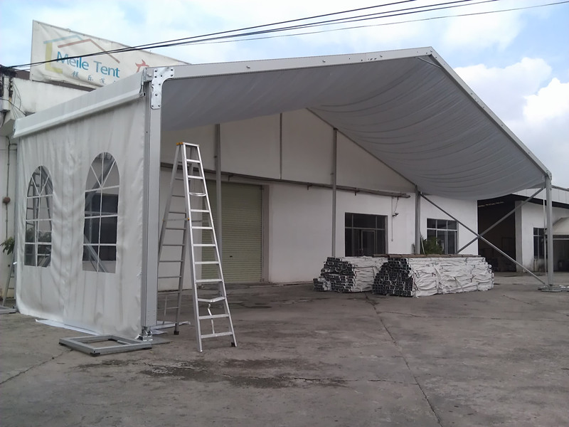 big tent with white roof lining for wedding party in Myanmar