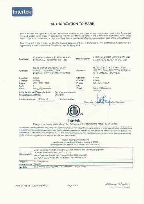 ETL certification
