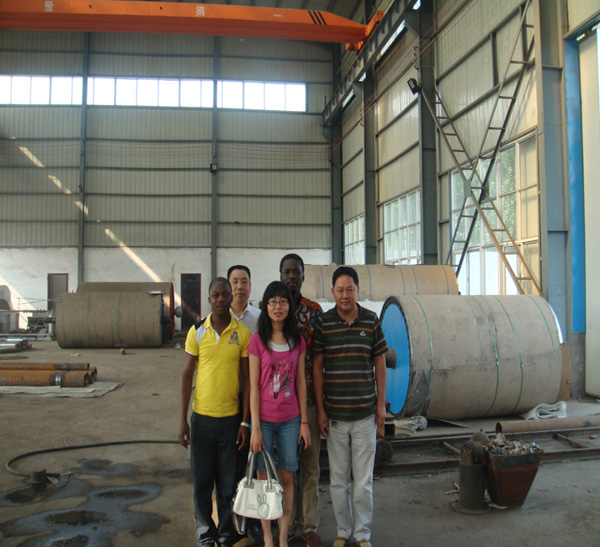 Ghana clients coming to our factory negociating about high speed toilet paper production line.