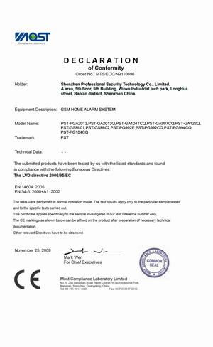Home Alarm CE Certificate