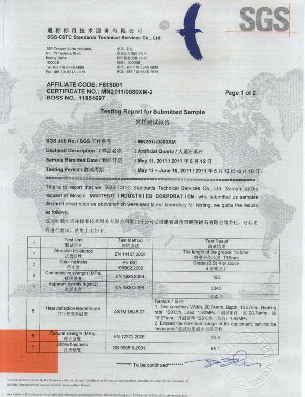 maoteng quartz product SGS Ceritfied