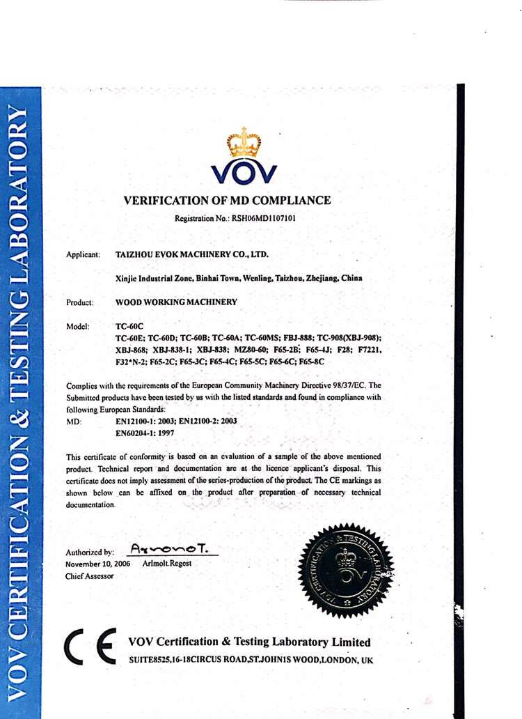 CE Certificate of Woodworking Machine