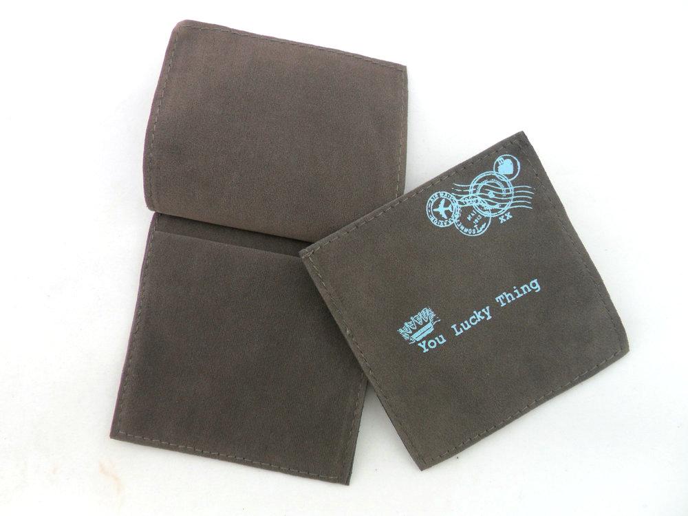 custom gray jewelry pouch