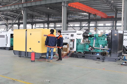 The open type 500kva Generator set is on testing