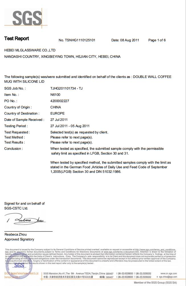 LFGB SGS test approval