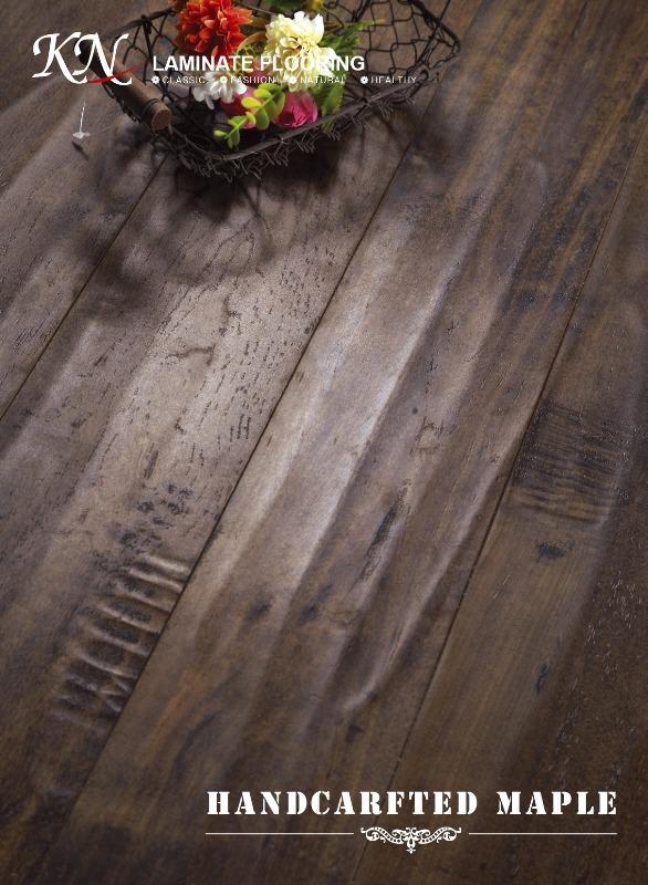Distressed Maple HDF Laminated Floor Embossed-in-Register(EIR) with Handscraped