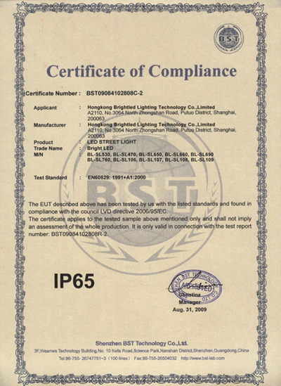IP65 Certificate of LED Street Light
