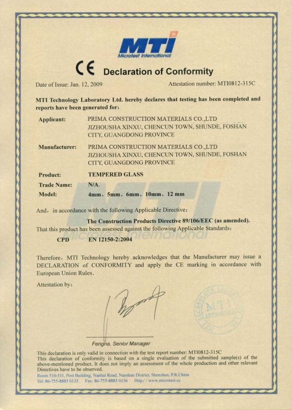 CE Certificate for Europe Market
