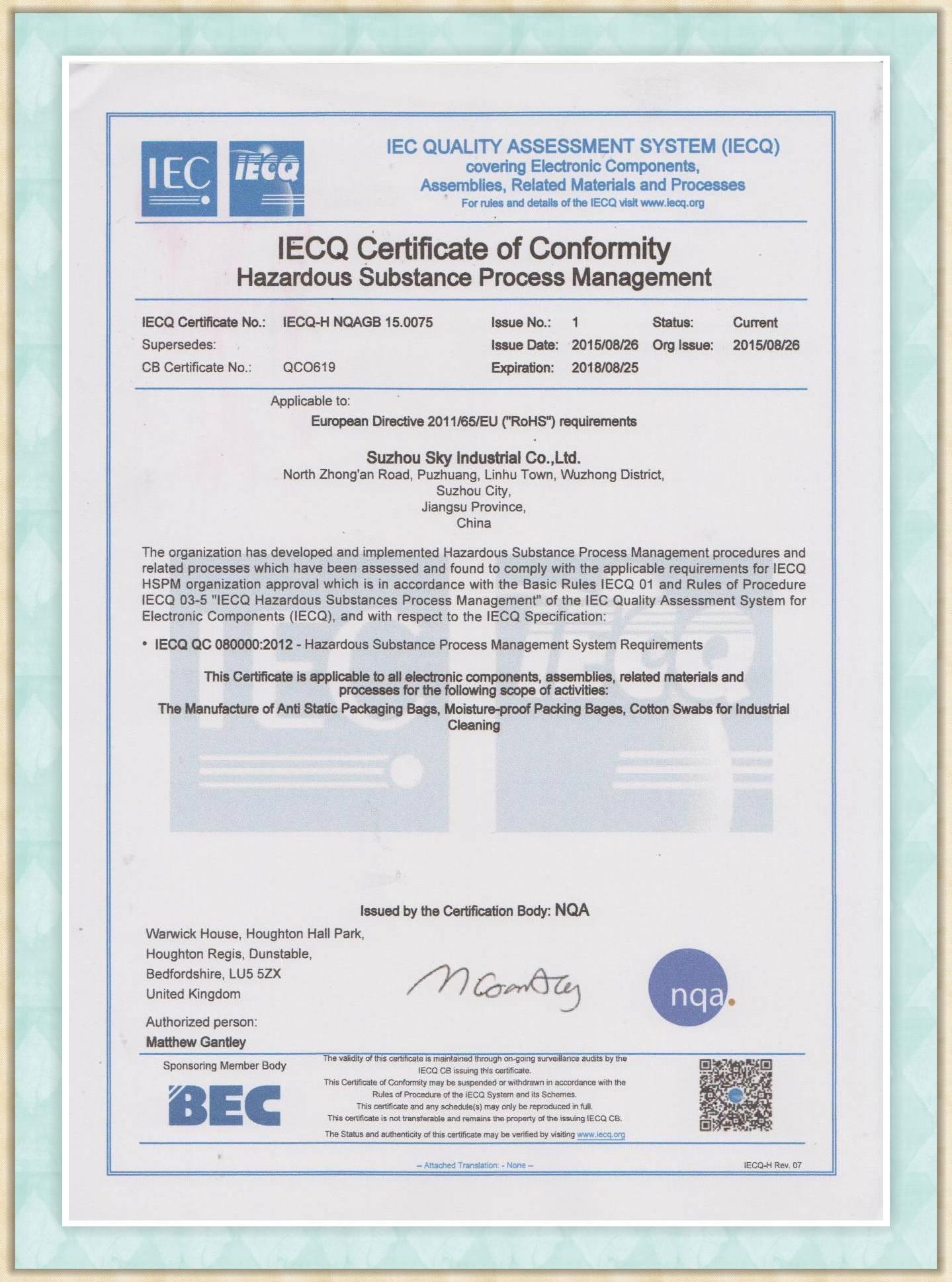 QC080000 certificate