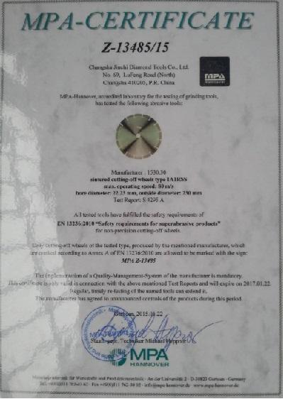 MPa Certificate - Diamond Saw Blade