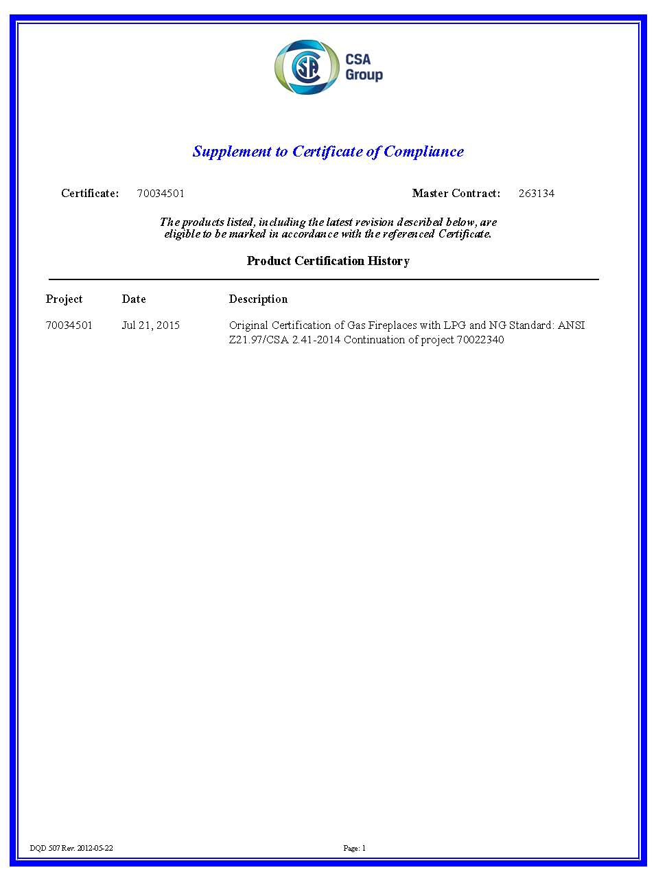 CSA Gas Fire Pit Certify