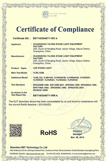 Rohs Certification For LED Par Can