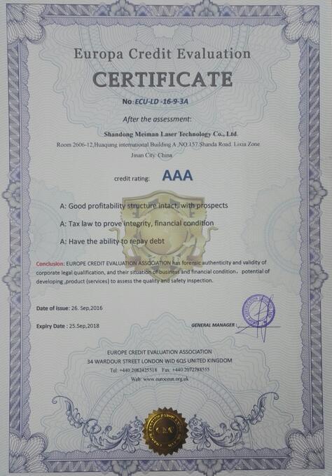 Europa Credit Evaluation Certificate