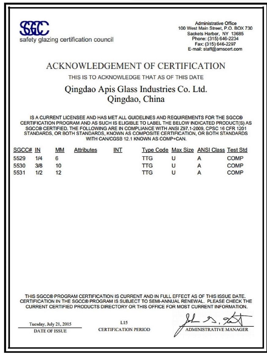 ANSI Z97.1-2009 SGCC Certificate.
