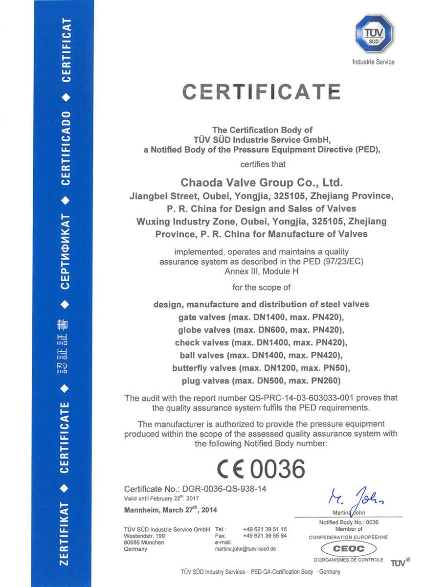 CE 0036 Certificate