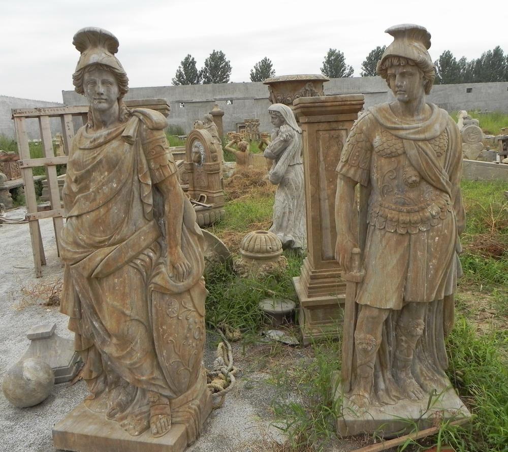 antique stone warrior carving sculpture