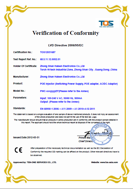 24W Series CE/ LVD certification