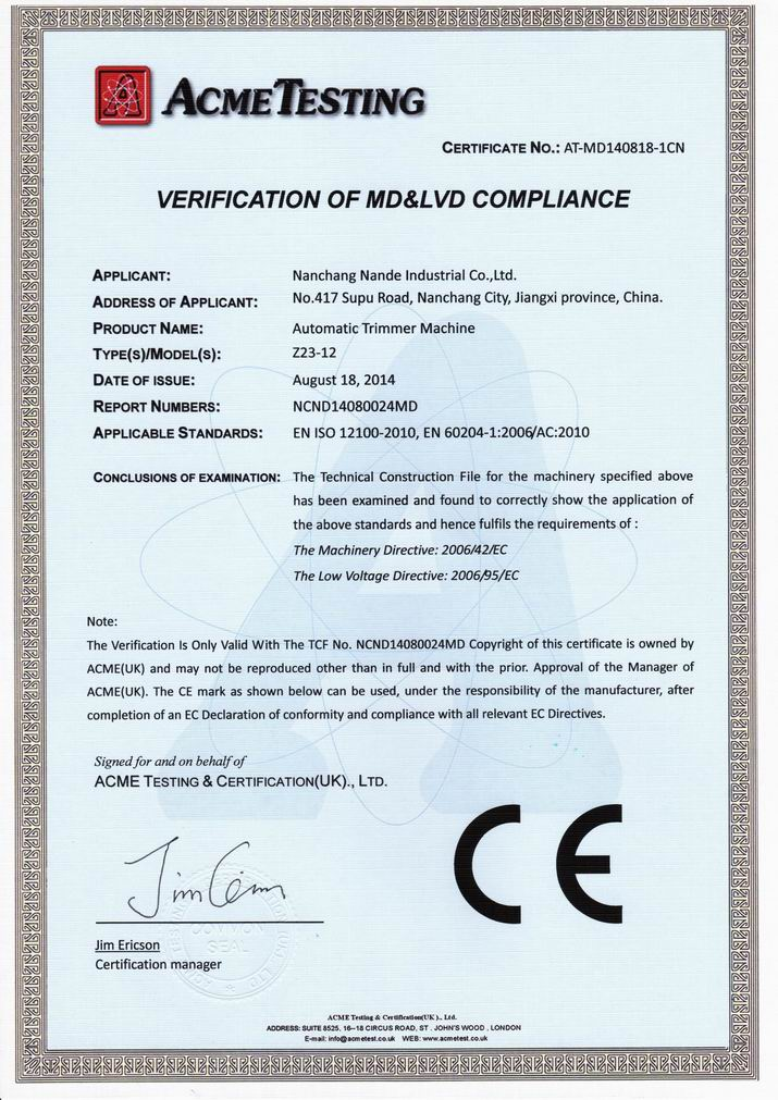 CE certificte