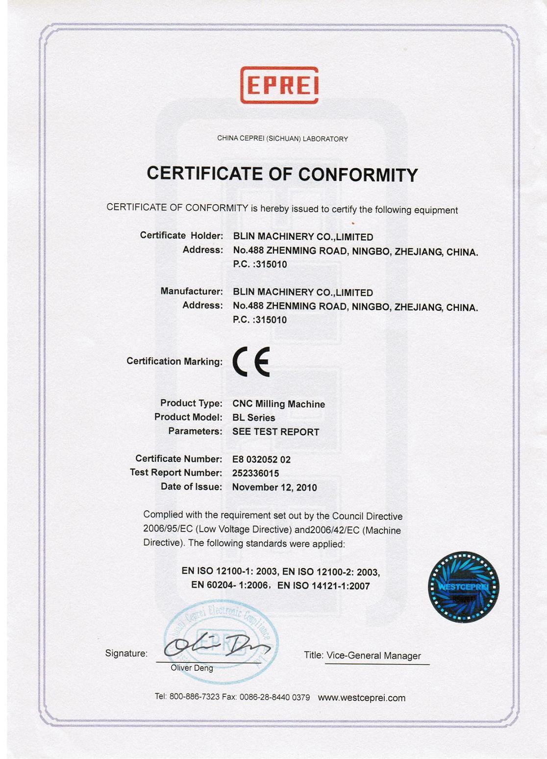 CE Certificate of CNC Milling Machine