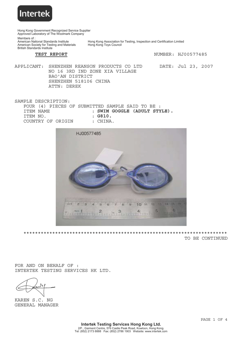 TEST REPORT of SWIMMING GOGGLES