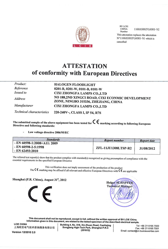 CE certificate of Floodlight