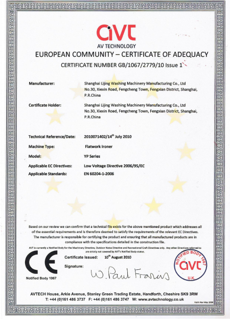 Flatwork Ironer CE-UK Approved