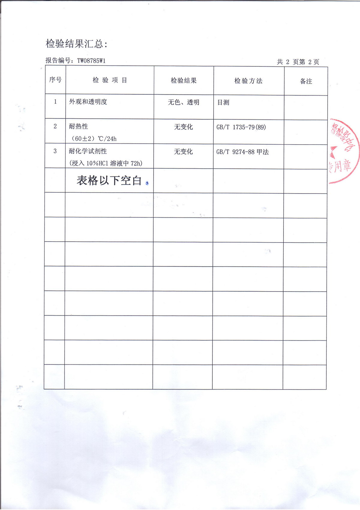 Test Report for Arcylic Sheet-6