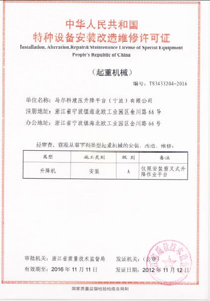 Special equipment certificate