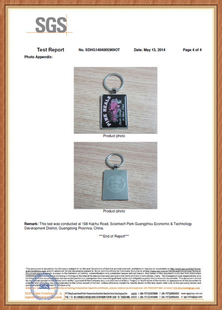 SGS Test Passed for Our Metal Keyring