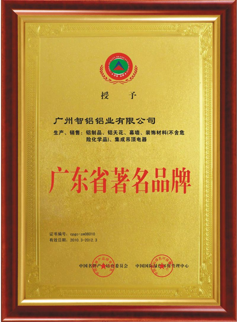 Guangdong Famous Brand Certification