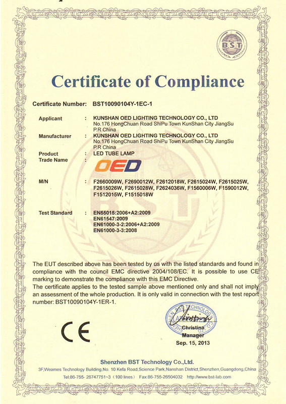 CE Approval for T8 LED Tube