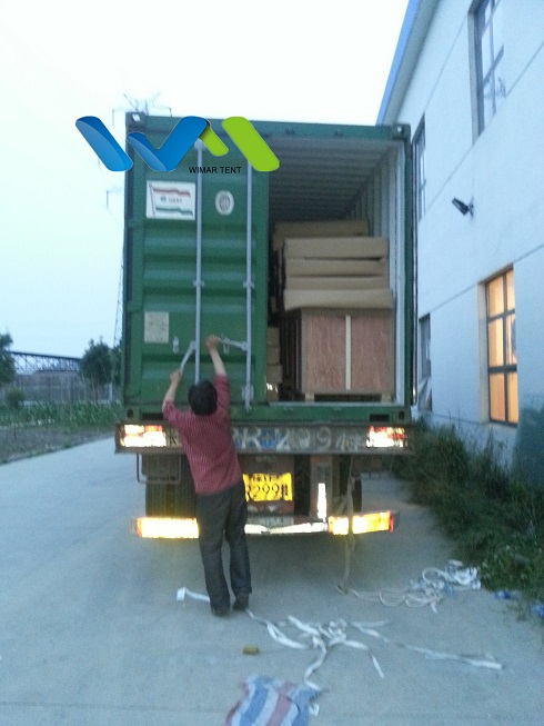 container loading at Wimar Tent