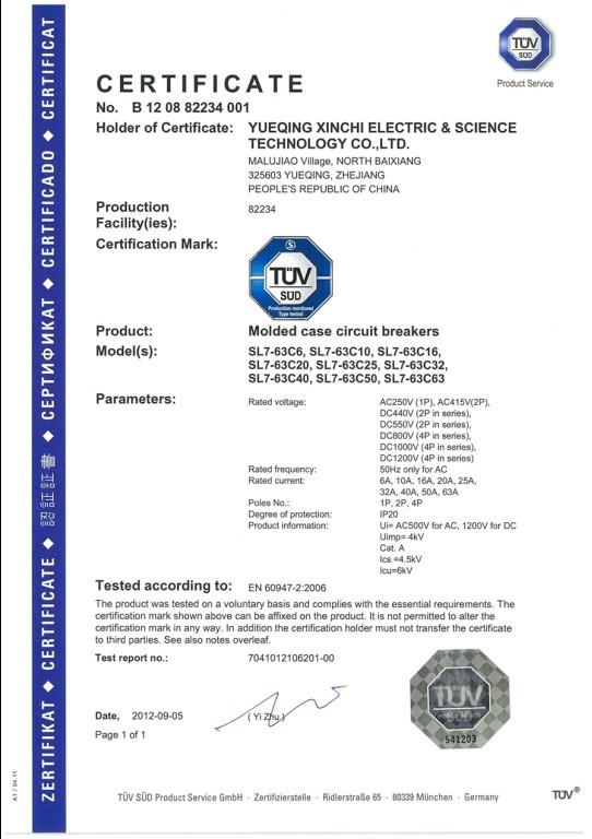 TUV certificate for SL7 dc circuit breaker