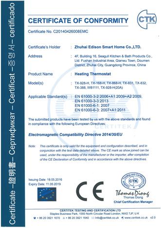 CE for Heating Thermostats