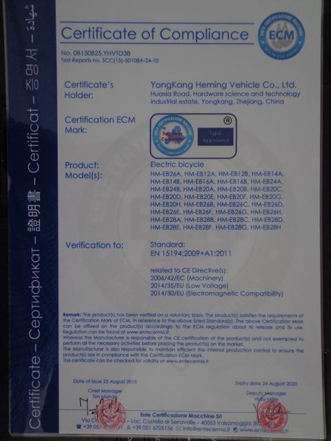 CE certificate of electric bike