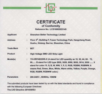 CE-LVD certificate for ac230v led strips