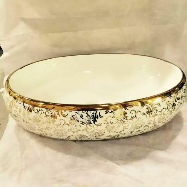 Golden or Sliver Decal Ceramic Washbasin