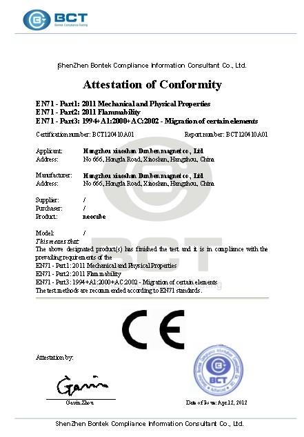 Neodymium Magnet CE Certification