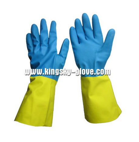 Unsupported Mixed Color Neoprene Chemical Glove with Flock Lined