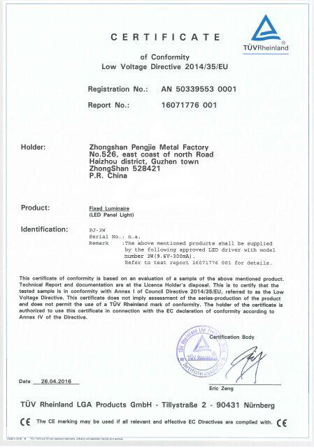 TUVCE LVD Certificate of LED Panel Light