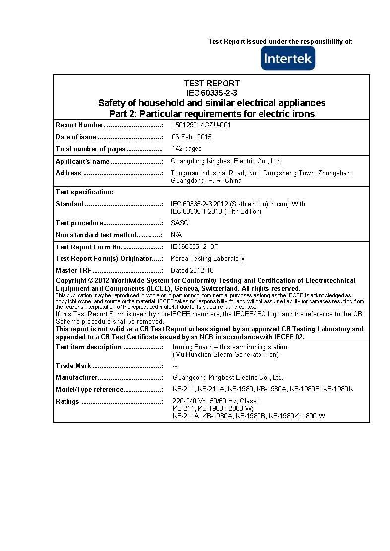 SASO Certificate--Ironing Board