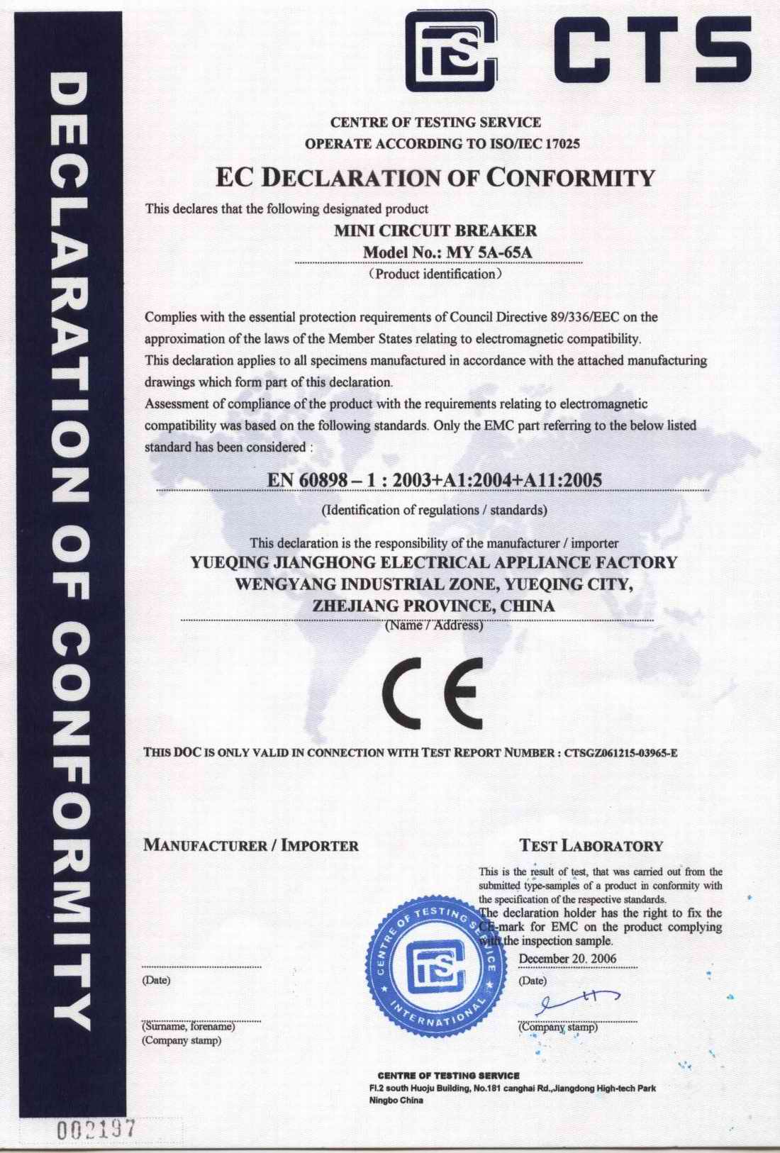 CE of MCB MY 5A-65A