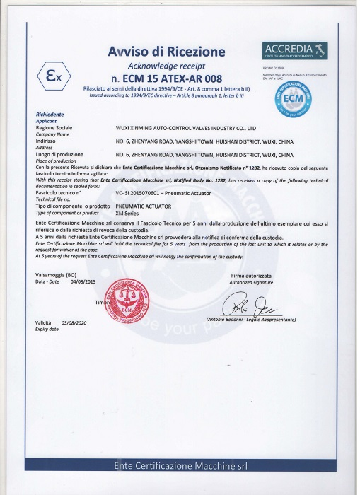 ATEX certificate for Pneumatic Actuator